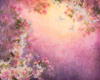 Cherry Blossoms Illustration on Canvas Royalty Free Stock Photos