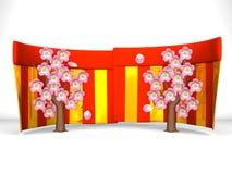 Cherry Blossoms And Red-Gold Curtains en el fondo blanco Fotografía de archivo libre de regalías
