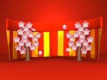 Cherry Blossoms And Red-Gold Curtains en fondo rojo Foto de archivo
