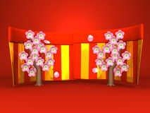 Cherry Blossoms And Red-Gold Curtains On Red Background Stock Photo