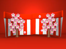 Cherry Blossoms And Red-White Curtains op Rode Achtergrond Stock Afbeeldingen