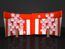 Cherry Blossoms And Red-White Curtains op Zwarte Achtergrond Stock Fotografie