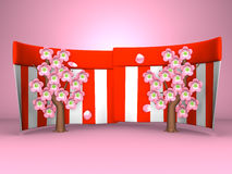 Cherry Blossoms And Red-White Curtains On Pink Background Stock Photos
