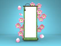 Cherry Blossoms And Scroll On Blue Background Stock Image