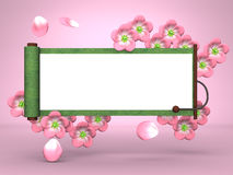 Cherry Blossoms And Scroll On Pink Background Royalty Free Stock Image