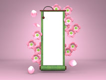 Cherry Blossoms And Scroll On Pink Background Royalty Free Stock Images