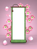 Cherry Blossoms And Scroll On Pink Background Royalty Free Stock Photo
