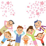 Cherry blossoms and three-generation family. Three-generation family lies to see cherry blossoms royalty free illustration
