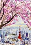 Cherry blossoms and Tokyo Tower landmark of Japan. Full bloom of sakura flower cherry blossoms and Tokyo Tower landmark of Japan - Asia business concept for vector illustration