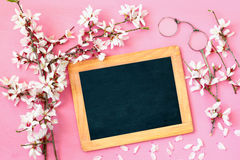 Cherry blossoms tree and blackboard Stock Photo