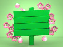 Cherry Blossoms And Wood Billboard On Green Stock Photo