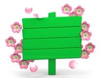 Cherry Blossoms And Wood Billboard su bianco Fotografie Stock Libere da Diritti