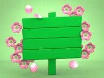Cherry Blossoms And Wood Billboard su verde Fotografia Stock