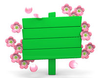Cherry Blossoms And Wood Billboard On White Royalty Free Stock Photos