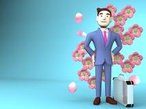 Cherry Blossoms And Young Businessman auf blauem Text-Raum Lizenzfreies Stockfoto