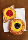 Cherry and blueberry danish pastries Royalty Free Stock Image