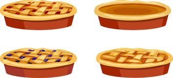 Cherry, Blueberry, Pumpkin, Apple Whole Pies. Cherry, blueberry, pumpkin, and apple pies in red pans isolated on a white background Royalty Free Stock Photography