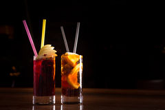 Free Cherry Bomb And Cuba Libre Cocktails In A Tall Glasses Royalty Free Stock Photo - 49479705