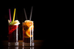 Cherry bomb and cuba libre cocktails in a tall glasses Stock Photography