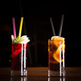 Cherry bomb and cuba libre cocktails in a tall glasses Stock Photos