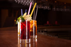 Cherry bomb, screwdriver and cuba libre cocktails in a tall glas Royalty Free Stock Photos
