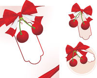 Cherry with bow Royalty Free Stock Images