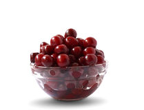 Cherry bowl. Transparent isolated bowl with sweet cherry fruits Royalty Free Stock Photo