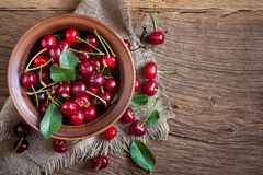 Cherry in bowl Royalty Free Stock Photography
