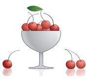 Cherry in bowl. Vector illustration. Stock Image