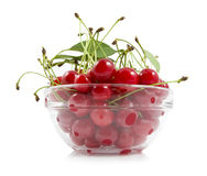 Cherry with a branch on a dish Stock Photos