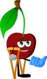 Cherry with a broken leg walking on crutches Royalty Free Stock Photo