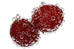 Cherry with bubbles. (water, white Royalty Free Stock Image