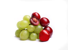 Cherry, bunch of grapes Stock Images