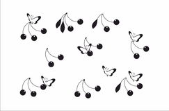 Cherry and buterfly pattern Royalty Free Stock Photography