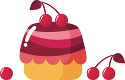 Cherry cake. With glaze and cherries stock illustration