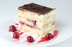 Cherry cake. With chocolate on top and fruit dressing Stock Image