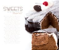 Cherry cake. Sweet cherry cake ower white royalty free stock photos
