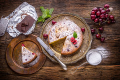 Cherry Cake. Assortment Ingredients And Cherry Cake In Retro Style Stock Photo