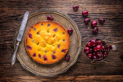 Cherry Cake. Assortment ingredients and cherry cake in retro style Royalty Free Stock Photography