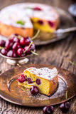 Cherry Cake. Assortment ingredients and cherry cake in retro style Stock Images
