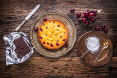 Cherry Cake. Assortment ingredients and cherry cake in retro style Royalty Free Stock Photo