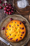 Cherry Cake. Assortment ingredients and cherry cake in retro style Royalty Free Stock Image