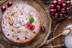 Cherry Cake. Assortment ingredients and cherry cake in retro style Stock Image