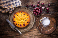 Cherry Cake. Assortment ingredients and cherry cake in retro style Stock Photo