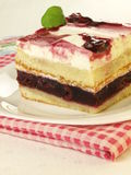 Cherry cake, closeup. Portion of appetizing cherry cake Royalty Free Stock Image