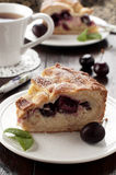 Cherry cake with cream. Homemade cherry cake with cream Stock Image