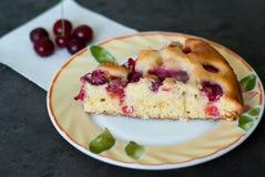 Cherry cake. Delicious summer pie with fresh cherries Stock Image