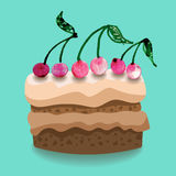 Cherry cake illustration Royalty Free Stock Images