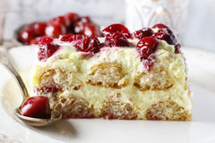 Cherry cake with lady finger biscuits. Party dessert royalty free stock image