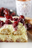 Cherry cake with lady finger biscuits Stock Photos